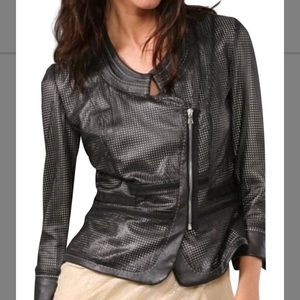Elie Tahari laser cut leather blazer jacket Sm